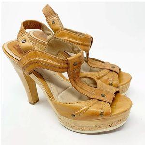 Frye Kara t strap heels